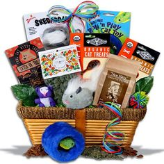 Cat lovers gift basket (its just missing FroliCat toys!) #cats #catgifts