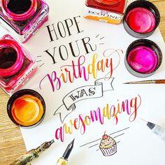 Belated Birthday, It's Your Birthday, Birthday Wishes, Birthday Cake, Calligraphy, Instagram Posts, Special Birthday Wishes, Lettering, Birthday Cakes