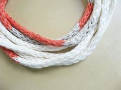 Knitted Cord Necklace using embroidery floss