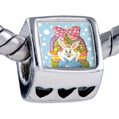 Pugster Easter Basket & Bunny Beads Fit Pandora Bead Bracelet Pugster. $12.49. It's the photo on the heart charm. Unthreaded European story bracelet design. Hole size is approximately 4.8 to 5mm. Bracelet sold separately. Fit Pandora, Biagi, and Chamilia Charm Bead Bracelets