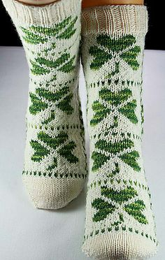 shamrock socks pattern by Christina Rowell Fair Isle Knitting, Knitting Socks, Toe Up Socks, Knitting Patterns, Crochet Patterns, Knit Picks, Sock Yarn, Knitting Accessories, Knit Or Crochet