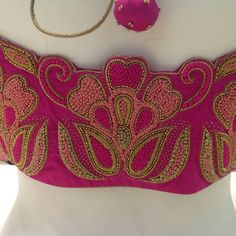 Kids Blouse Designs, Simple Blouse Designs, Designer Blouse Patterns, Fancy Blouse Designs, Blouse Neck Designs, Hand Designs, Choli Designs, Hand Work Embroidery, Beaded Embroidery