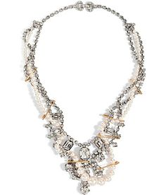 Lend a statement finish to any outfit with this crystal-laden safety-pin and pearl necklace from Tom Binns #Stylebop