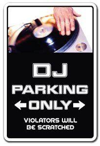 DJ ~Sign~ parking records turn tables mixer disc jockey