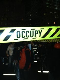 On December 31st the Occupy Wall Street movement retook Zuccotti Park with their very own fake police tape.  — in New York, New York.