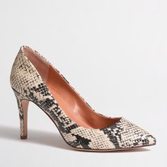 """J Crew Factory Isabelle Pumps Beautiful snake print shoes. Barely worn and in great almost new condition. Fits a size 8 since it runs about a half size small for medium to wide feet. Cotton/spandex upper. 3 1/2"""" heel. Man-made sole. COMES WITH ORIGINAL BOX J. Crew Shoes Heels"""