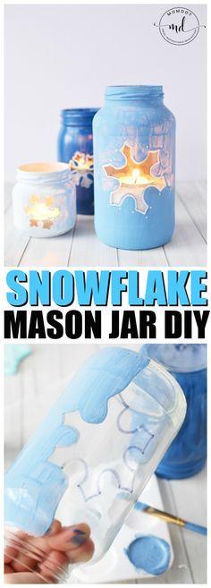 Snowflake Mason Jar DIY   Christmas Mason Jar Tutorial   How to Paint Mason Jars for Centerpieces
