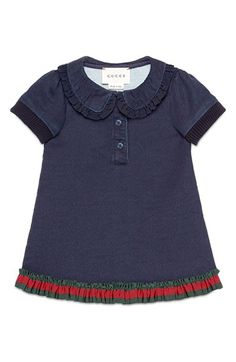 Free shipping and returns on Gucci Ruffled Peter Pan Collar Piqué Dress (Baby Girls & Toddler Girls) at Nordstrom.com. A face-framing Peter Pan collar provides classic charm to this darling polo-inspired dress featuring ruffled, grosgrain trim along the hem patterned in Gucci's signature stripes.