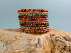 YOLO Chic, Cafe Tangier, beaded cuff, 11X, Turquoise cuff, wire bracelet, cuff bracelet, boho chic, bohemian jewelry