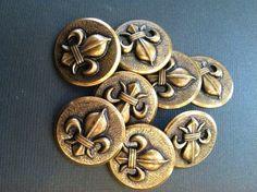 Vintage Brass Fluer de lis Buttons by VintageVientos on Etsy, $16.99