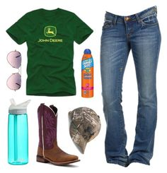 """Sorry I Haven't Been Posting Much In A Few Days, I've Been Quite Busy"" by im-a-jeans-and-boots-kinda-girl on Polyvore featuring John Deere, CamelBak, Laredo, Ray-Ban, Banana Boat and Under Armour"