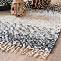 THALA tricolour stripe woven cotton rug 90 x 60 cm Rugs In Living Room, Interior Design Living Room, Estilo Navajo, Art Deco Chandelier, Apartment Makeover, Weaving Textiles, Home Room Design, Woven Rug, Rugs On Carpet