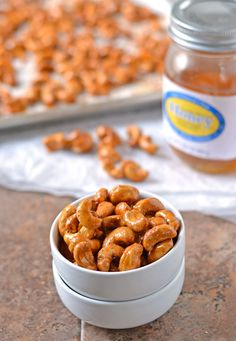 Honey Mustard Roasted Cashews. Sweet, smokey, and SO addictive. Only 10 minutes to prep!