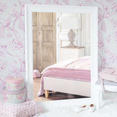 Specchio in legno di paulonia bianco H 120 cm VALENTINE