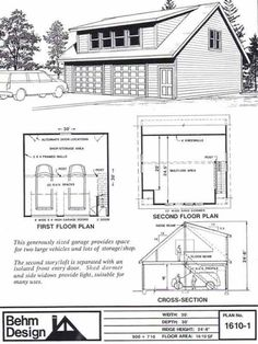 Two Car Garage With Shed Roof Loft Plan 1610-1 30' x 30' by Behm Design