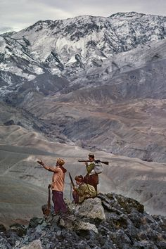 stevemccurrystudios:  Today's photograph: Afghan men atop a mountain in the Hindu Kush mountains. The mountains are our people.Afghan Proverb Current Museum Exhibitions Museum für Kunst und Gewerbe Hamburg, GermanySanta Maria della Scala Siena, ItalyFundacion ITAU, Santiago,Chile