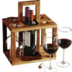 REFINERY Wine Bottle Caddy, Holds 4 Pieces Of Glass Stemware Plus 2 Bottles Of Your Favorite Drinks, Rustic Handcrafted Design W/Acacia Wood, Sturdy Top Handle For Easier Carrying, Great Hostess Gift Wine Bottle Glass Holder, Glass Holders, Bottle Opener, Unique Wine Racks, Wood Wine Racks, Wine Rack Inspiration, Wine Rack Design, Wine Caddy, Wine And Beer