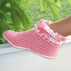 Crochet Pattern Slippers Cuffed Boots Women Kids PDF 12. $4.95, via Etsy.
