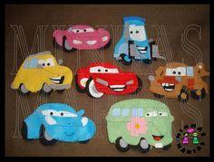 Dedoches do filme Carros, feitos em feltro.     accesorios  carros