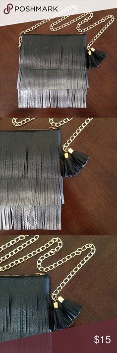 NWOT Purse with Fringes Handmade Mini Black Purse/Bag with black & gray fringes, black pompom's and gold chain. (Measures)  Brand NEW but it came without tag. Bags Mini Bags