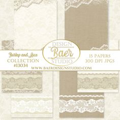Romantic and elegant digital paper backgrounds in ivory and taupe burlap and lace. These rustic digital backgrounds are perfect for creating Thanksgiving digital projects. Use them for placemats, paper flowers invitations, menus, scrapbook layouts, planner stickers etc