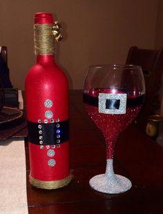 Santa Wine Bottle & Wine Glass set by FancifulCreationsbyA on Etsy