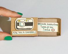 "Funny Camera Love Card/ Cheesy Gift for Her/ Unique Gift/ Cute Encouragement Card/ ""Every time I look at you I smile""/ Funny Love Card/ cute Friendship Card / Camera Matchbox / Gift box / Message box ""Every time I look at you I smile"" You make me happy Funny Love Cards, Cute Cards, Diy Cards, Matchbox Crafts, Matchbox Art, Cute Messages, Friendship Cards, Funny Friendship, Friendship Day Gifts"