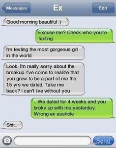 funny, funny texts, iphone texts, epic fail,  ex-girlfriend, Texting your ex-girlfriend EPIC FAIL