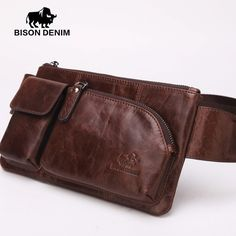 ab81c78278e3 Vintage style leather Brown bags designer genuine leather guarantee Waist  bag for Men fanny pack