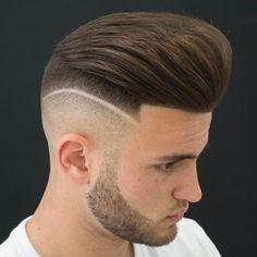 Pompadour Undercut With Shaved Line