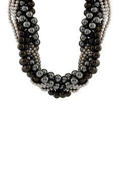 Gray & Black 4-11mm Shell & Ocean Pearl Torsade Necklace