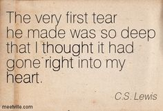 The very first tear he made was so deep that I thought it had gone right into my heart. C.S. Lewis