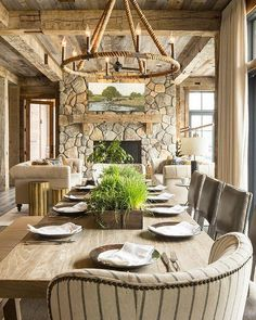Rustic #interior done right! I am loving the textures found in this space. It feels balanced and very inviting. By @oharainteriorsofficial. #Photo by Troy Thies Photography. #chandelier #rope #ropechandelier #stone #fireplace #bloggers #blogs #homeideas #homedesign #chairs #diningroom #rusticinteriors #farmhousegoals #farmhouse #Shiplap #reclaimedwood #reclaimedshiplap #farmhouseideas #farmhouseinspo #igideas
