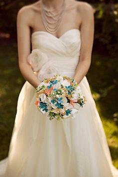 Stephen + Lori - Brooke Courtney Photography / Pink Blue Green Wedding / DIY / Paper Bouquet / Brides Bouquet / Etsy Bouquet