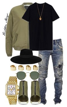 """""""Style Recongize Style."""" by monroestyles ❤ liked on Polyvore featuring moda, Maison Scotch, Balmain, DRKSHDW, Maison Michel, Alexander McQueen, Michele, Ray-Ban, Maison Margiela e MensFashion"""