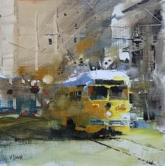 Yellow Trolley by Mark Lague Oil ~ 11 x 11