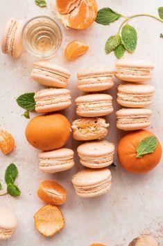 Mandarin Orange and Mint Macarons - cambrea bakes Orange Food Coloring, Gel Food Coloring, Orange Buttercream, Classic French Dishes, Macaron Recipe, Almond Recipes, Baking Recipes, Food Print, A Food