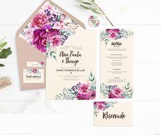 ARTE PARA IDENTIDADE VISUAL /PAPELARIA PARA CASAMENTO - DIGITAL ITENS INCLUSOS NO KIT (tamanhos sugeridos) 1 arte para convite formal - tamanho: 15x21 1 arte para convite Individual - tamanho: 4x7,5 1 arte para tag com nomes (enviado com os nomes de cada convidado) - tamanho: 5x1,5 1 art... Floral Rosa, Diana, Place Cards, Wedding Invitations, Place Card Holders, Ideas, Formal Invitation Suites, Floral Wedding, Wedding Invitation