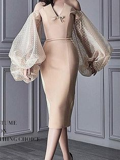 Beige Off Shoulder V-neck Puff Sleeve Chic Women Bodycon Midi Dress Classy Dress, Classy Outfits, Fall Outfits, Couture Fashion, Boho Fashion, Womens Fashion, Fashion Design, Couture Dresses, Fashion Dresses
