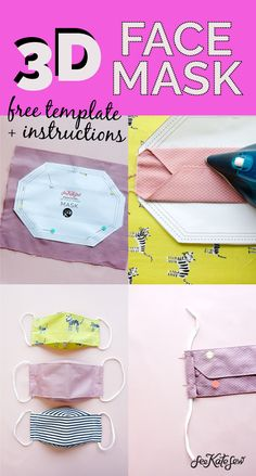 Sewing Hacks, Sewing Tutorials, Sewing Projects, Sewing Crafts, Easy Face Masks, Diy Face Mask, Christmas Tree Skirts Patterns, Sewing Elastic, Mask Template