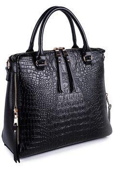 Crocodile Print Zipper Tote Bag. Tote BagsTote HandbagsCrossbody ...