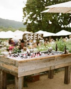 Rustic beer display for wedding cocktail hour, country wedding ideas, outdoor wedding reception Wedding Reception, Wedding Day, Wedding Backyard, Backyard Bbq, Diy Wedding Bar, Drinks Wedding, Wedding Photos, Wedding Bells, Rustic Wedding Foods