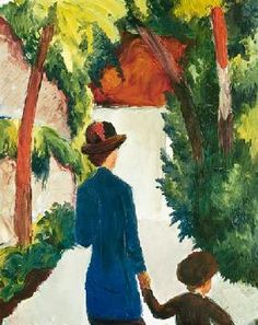 August Macke - Mother and child in the park