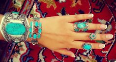 Turquoise ring Tribal ring Turquoise stone ring by ZamarutJewel