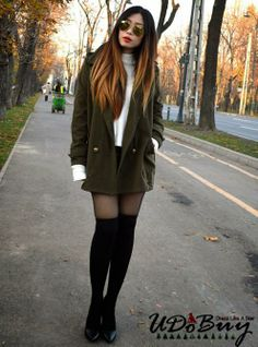 Cassandra Y. Liu In Army Green Long Sleeve Double Breasted Notch Lapel Pockets Coat