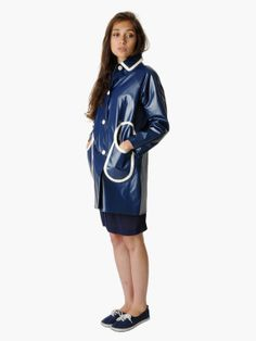 Lazy Jacks Ladies Parka Style Long Raincoat - Marine Navy
