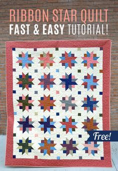 You won't believe how easy this Ribbon Star Quilt is to make! And a free video tutorial! Missouri Star Quilt Tutorials, Quilting Tutorials, Quilting Projects, Quilting Ideas, Msqc Tutorials, Quilting Designs, Star Quilt Blocks, Star Quilts, Easy Quilts