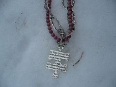 1722 4mm Rhodonite and Decorative Chain by treasuresbytree on Etsy, $29.95