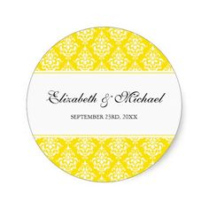 Yellow Damask Round Wedding Favor Label Stickers