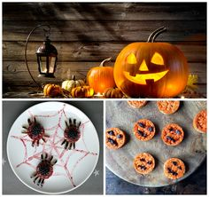 Easy and healthy spooky spiders and Halloween pumpkins. You can make them with the help of small children and they are perfect for Halloween parties.